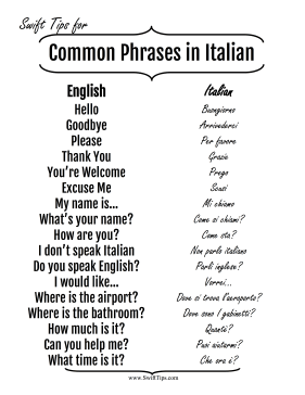 common english to italian phrases