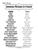 Common English to French Phrases