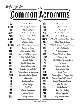Commonly-Used Acronyms Printable Board Game