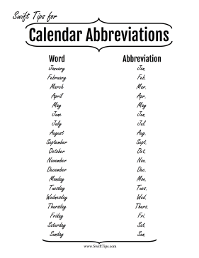 Month and Day Abbreviations Printable Board Game