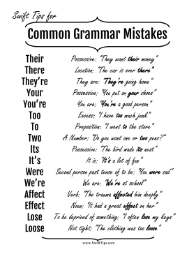 Common Grammatical Errors Printable Board Game