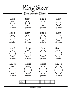 picture about Printable Ring Sizes identified as Ring Sizer Chart