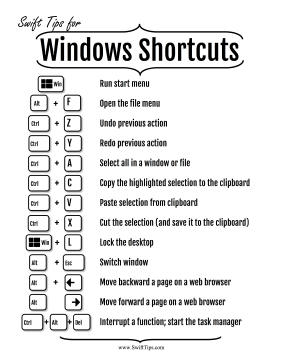 Shortcuts for Windows Computers Printable Board Game