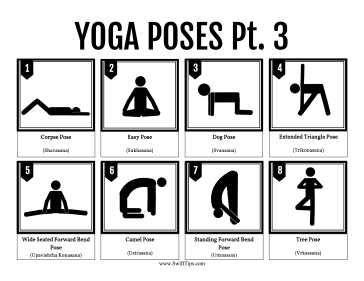 Yoga Positions Printable Board Game