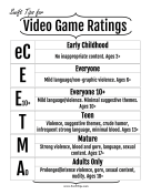 Video Game Rating System printable swift tip